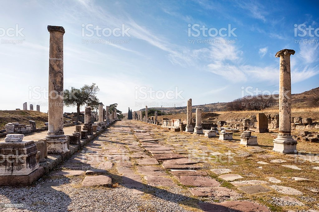 Asclepion of Pergamon (Bergama) in Turkey stock photo