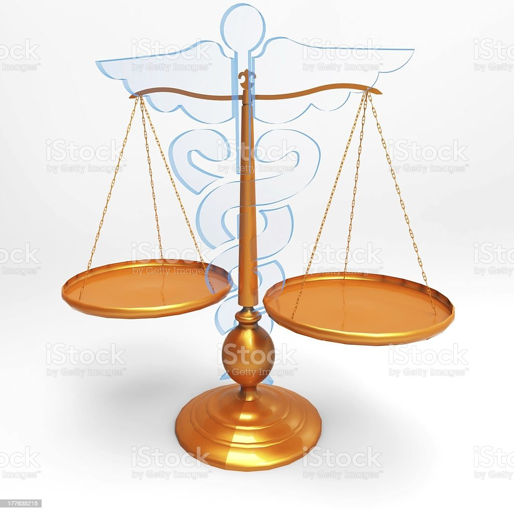 Asclepius & Justice scale royalty-free stock photo