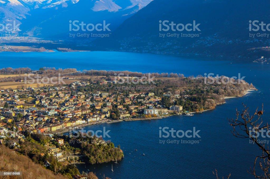 Ascona from the Monti di Ronco stock photo