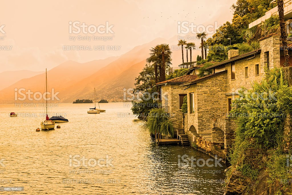 Ascona, Lake Maggiore at sunset stock photo
