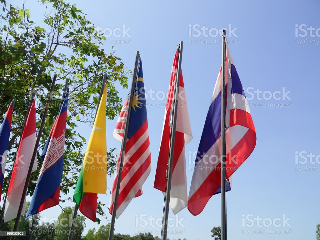 Asean association flags stock photo