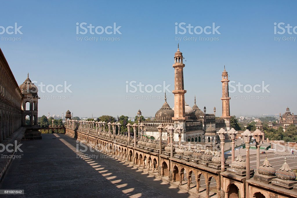 Asfi mosque view from roof of the Bara Imambara,India. stock photo