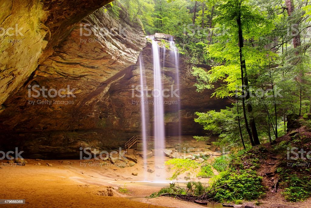 Ash Cave with waterfalls in Hocking Hills stock photo
