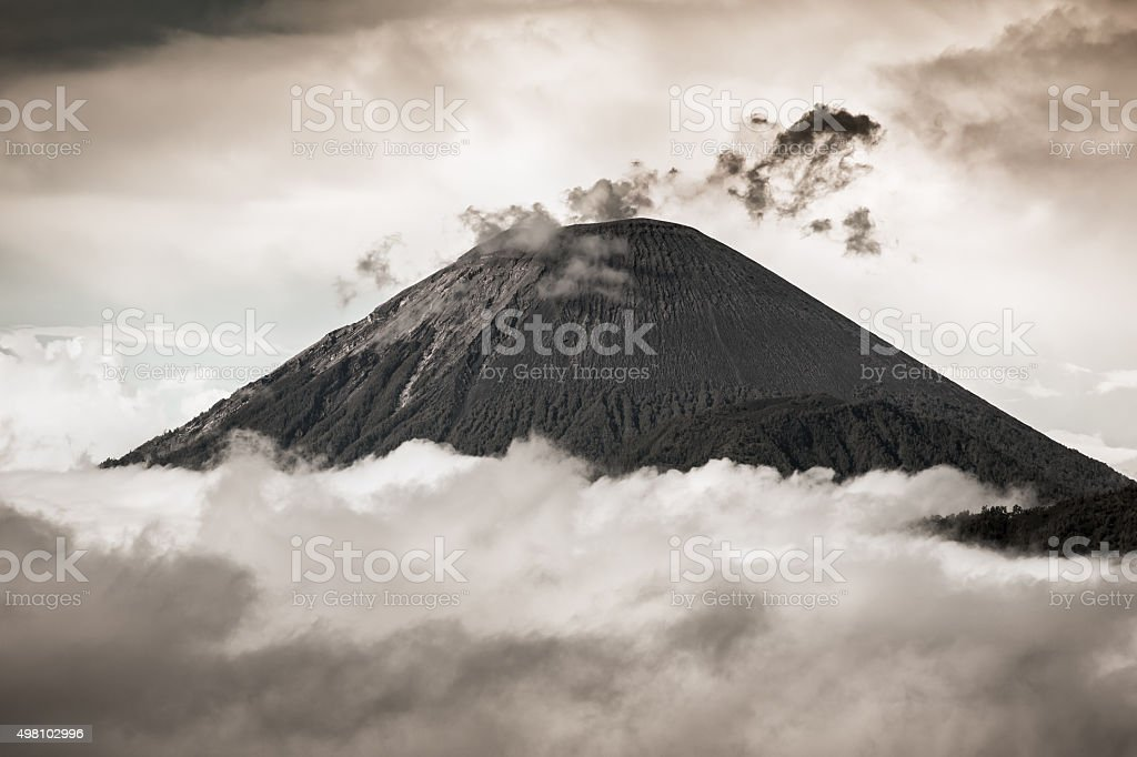 Ash cloud rising at Semeru Volcano Mountain, East Java, Indonesi stock photo