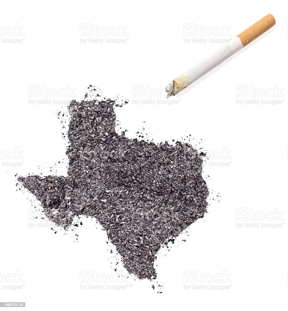 Ash shaped as Texas and a cigarette.(series) stock photo
