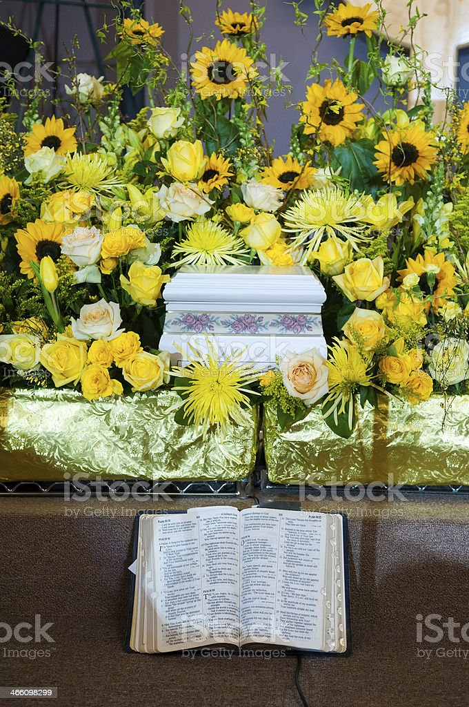 Ashes and Bible at loved one's funeral or memorial service stock photo