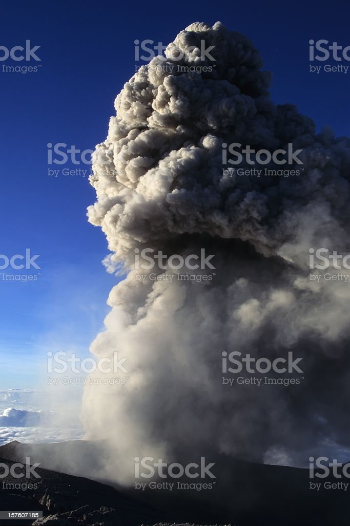 Ashes blown by the Semeru volcano stock photo