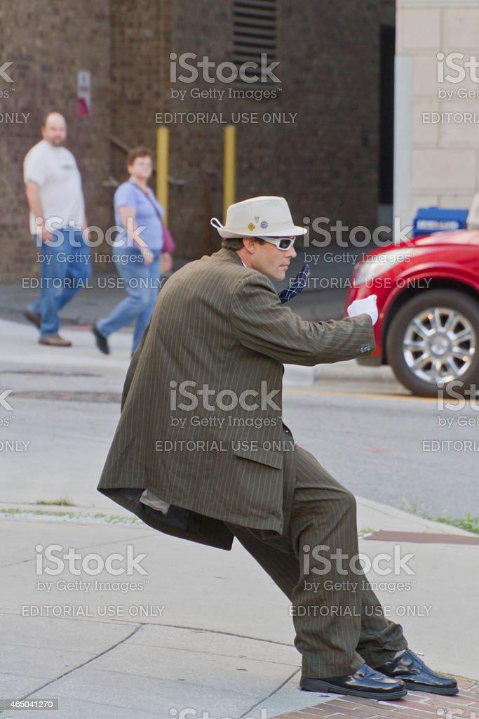 Asheville Leaning Statue Street Performer stock photo