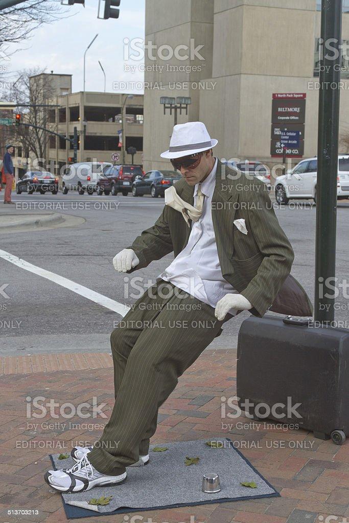 Asheville Living Statue Street Artist stock photo