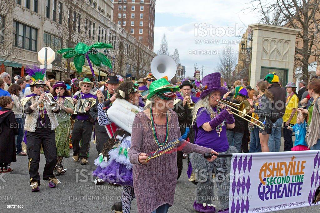 Asheville Mard Gras Parade Band stock photo