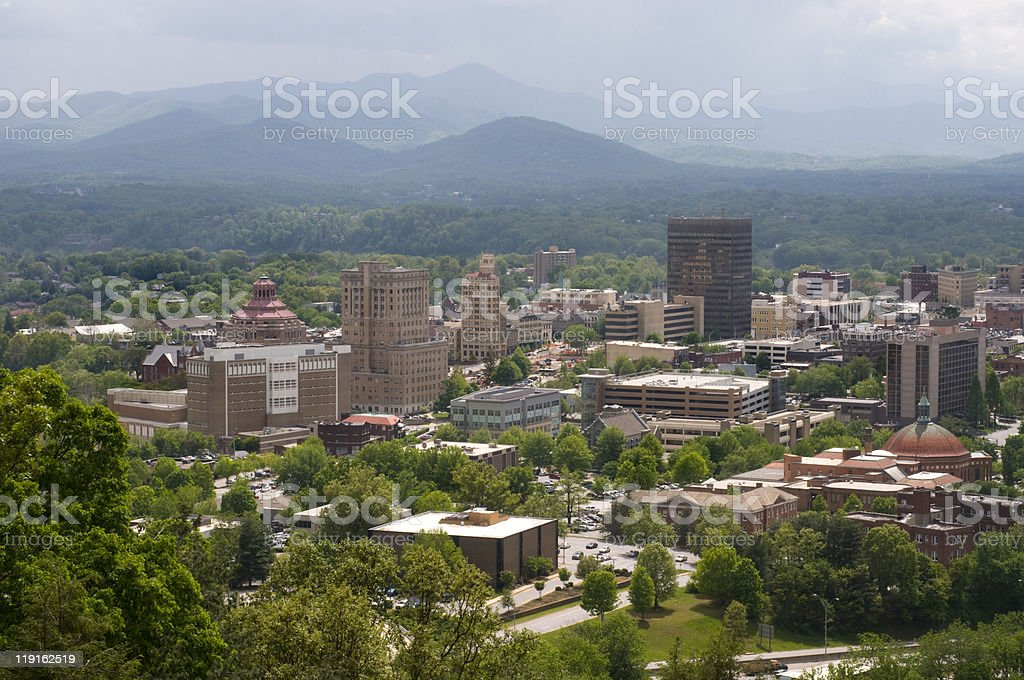 Asheville North Carolina and Mountains stock photo