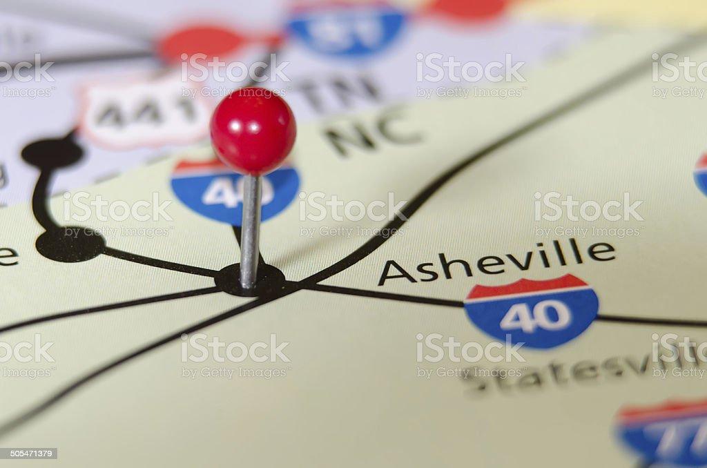 asheville north carolina pin othe map stock photo