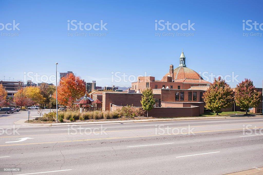 asheville skyline in fall stock photo