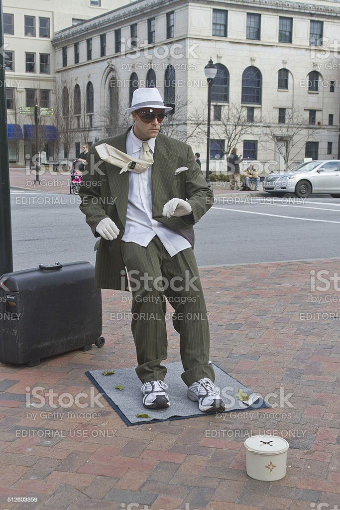Asheville Street Busker stock photo
