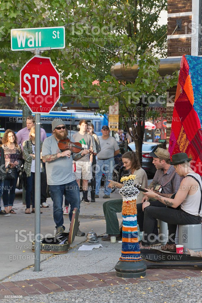 Asheville Street Music Draws a Crowd stock photo