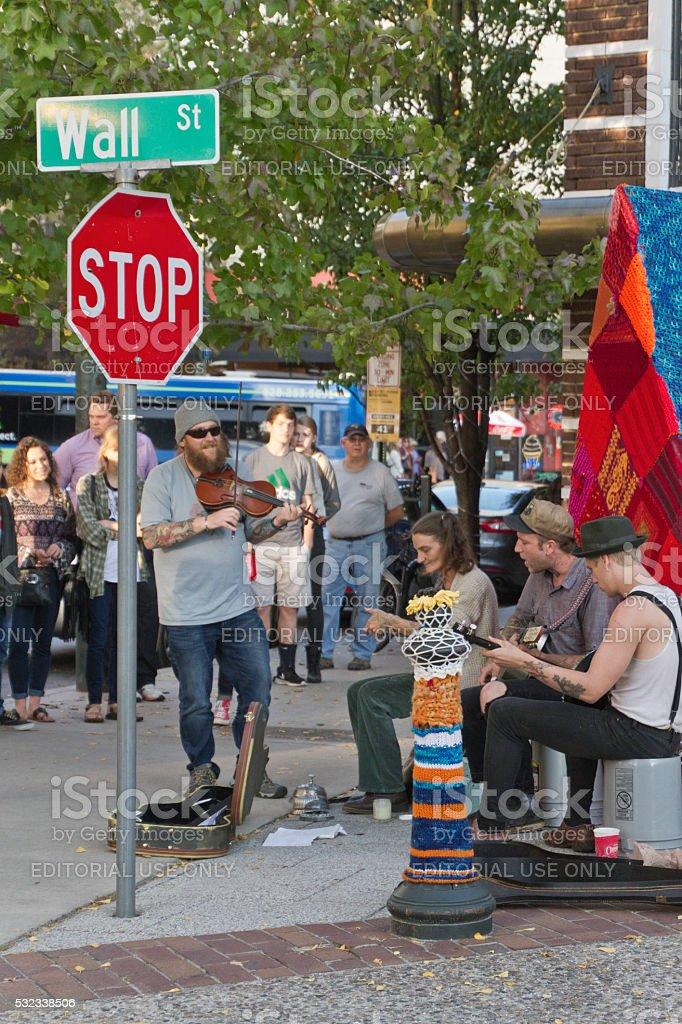 Asheville Street Music Draws a Crowd stock photo