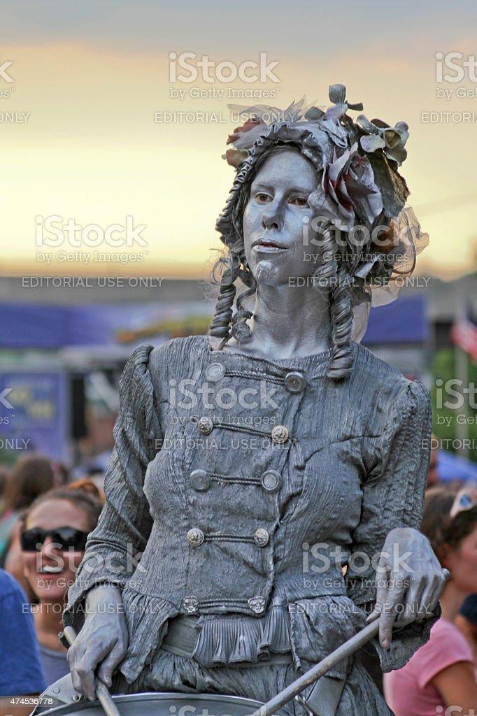 Asheville Woman Drummer Living Statue stock photo