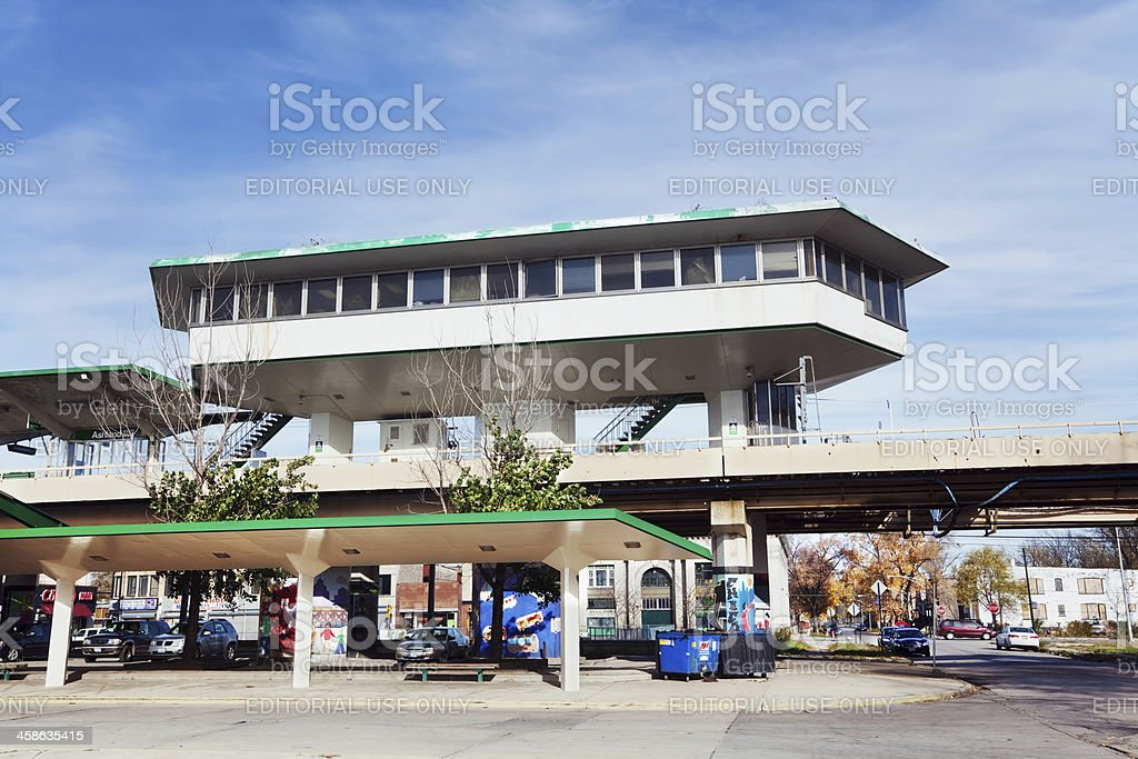 Ashland Green Line Station in West Englewood, Chicago royalty-free stock photo