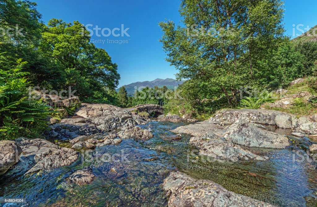 Ashness Bridge in the English Lake District on a Summers Afternoon stock photo
