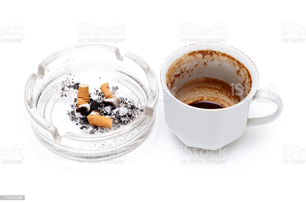 ashtray   and cup of coffee royalty-free stock photo