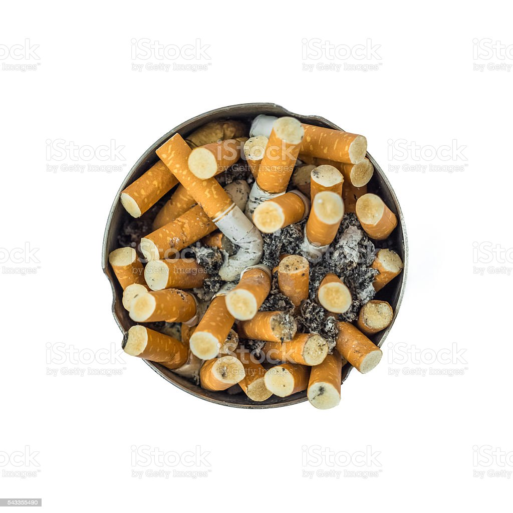 Ashtray Full of Cigarette Butts on a White Background stock photo