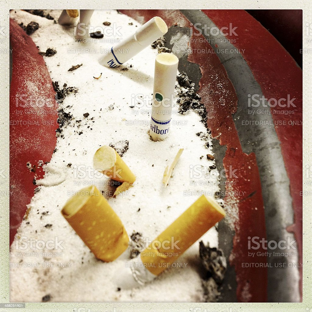Ashtray with Cigarette Butts royalty-free stock photo
