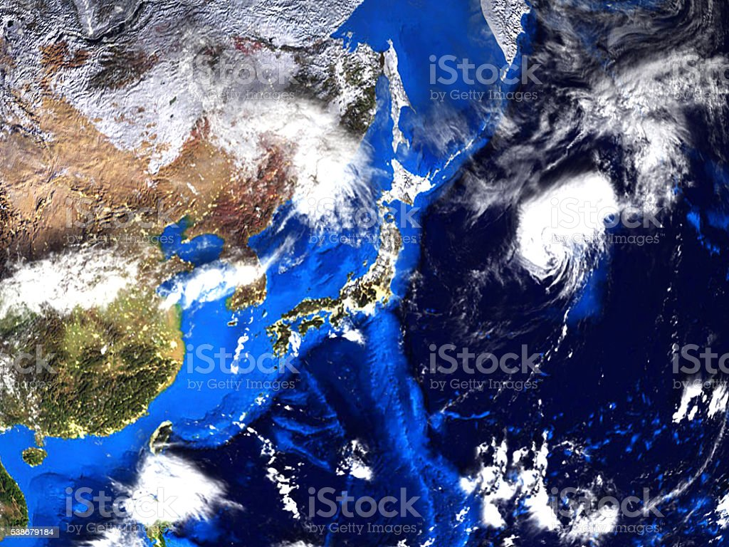 Asia and Japan Map view from space 3d stock photo