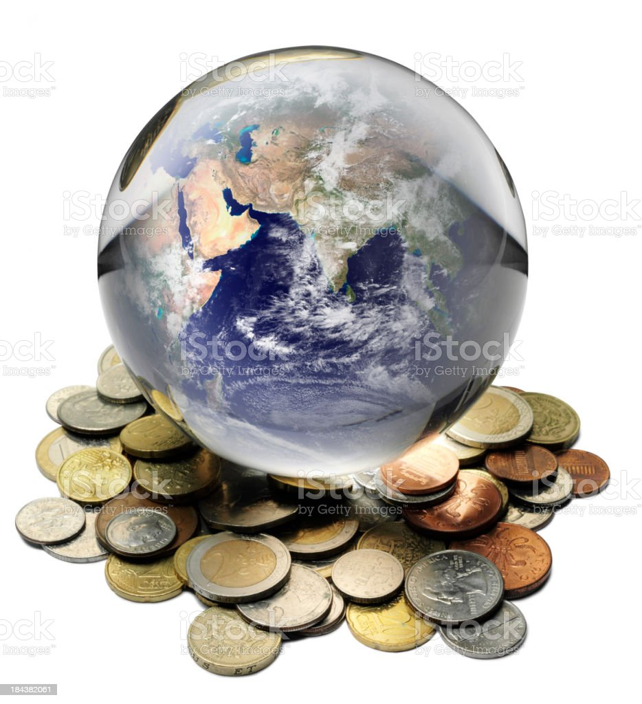 Asia and the World Currency in a Crystal Ball royalty-free stock photo