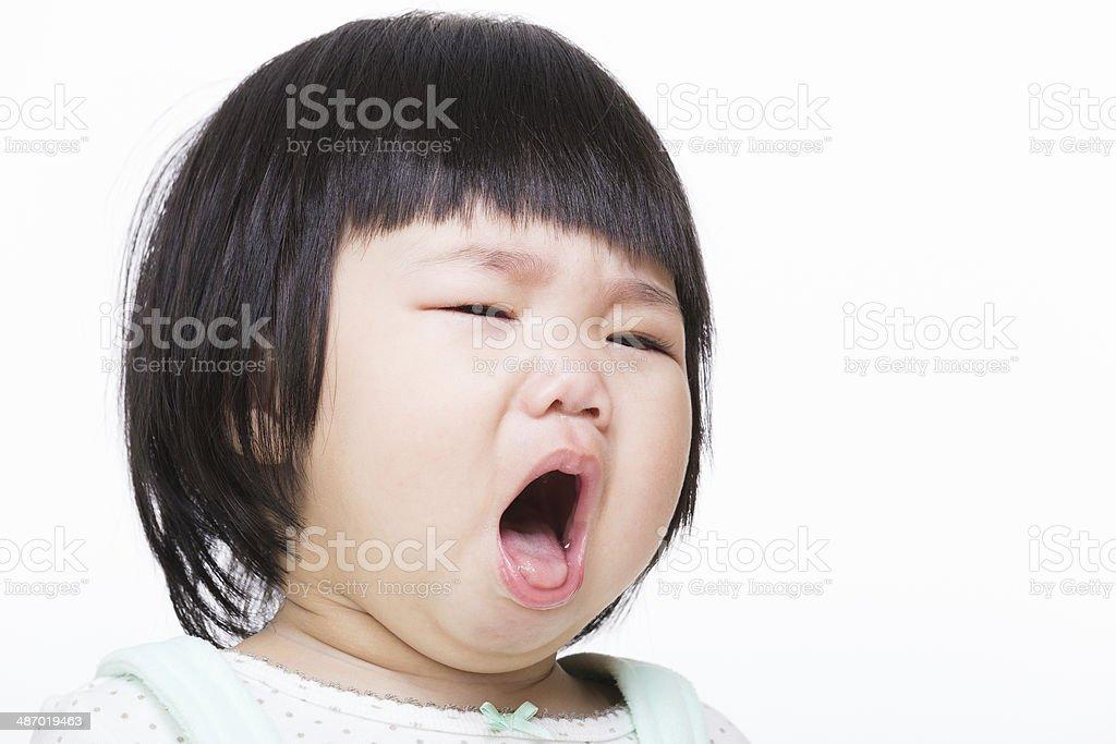 Asia baby girl cough stock photo