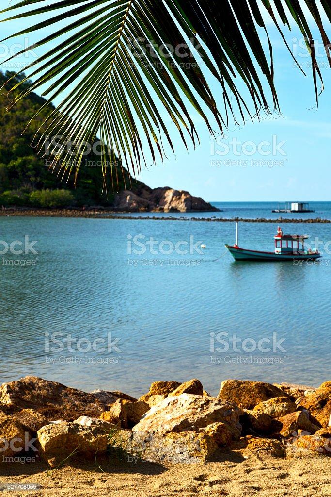 asia   beach    rocks pirogue palm and south china sea stock photo