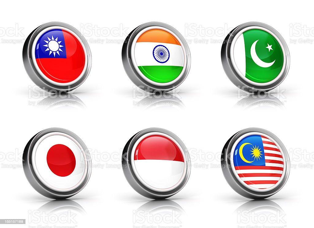 Asia Flags icon set royalty-free stock vector art