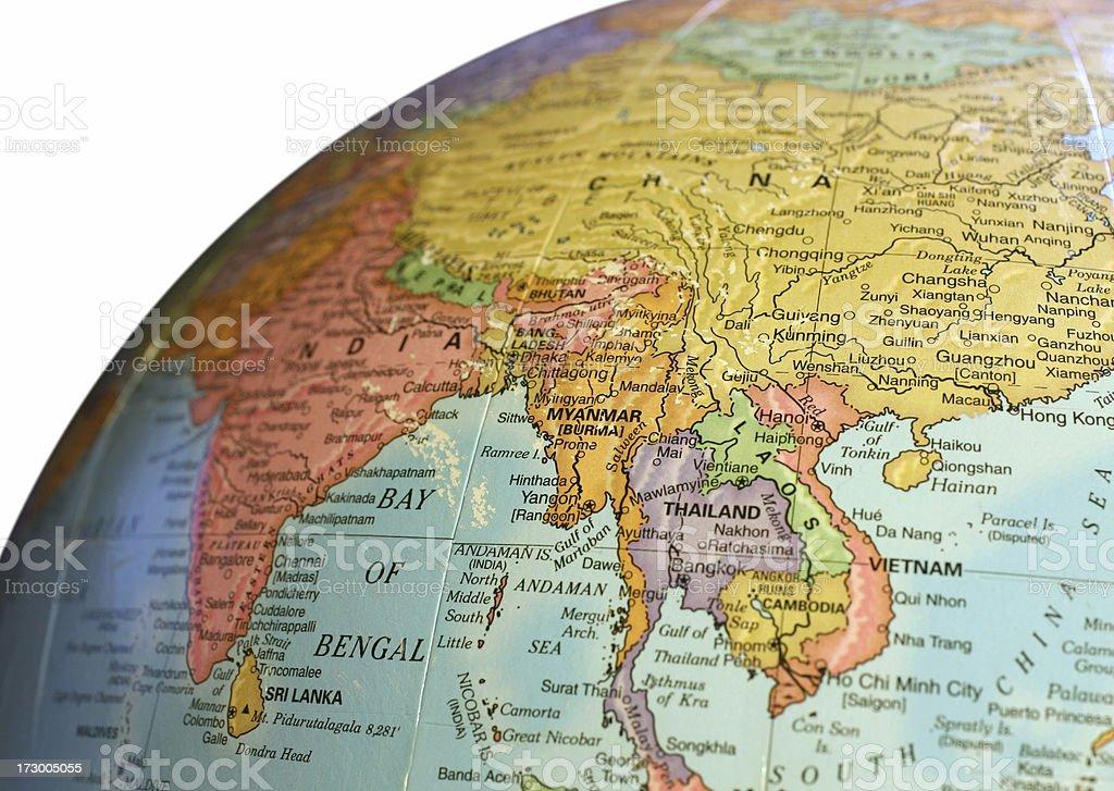 Asia Globe Map royalty-free stock photo