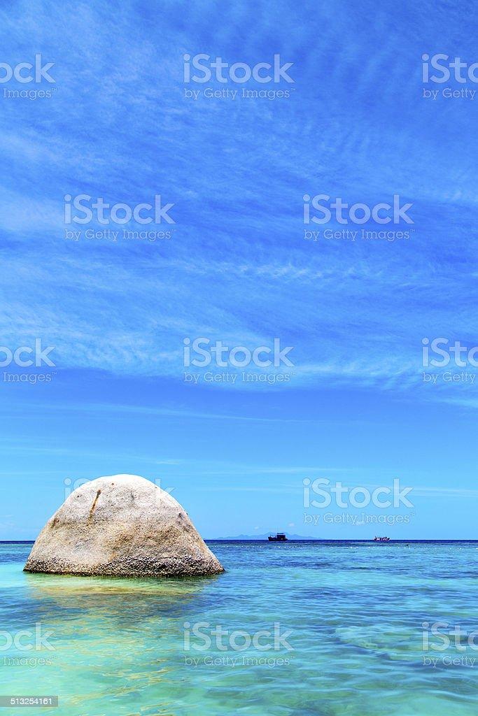 asia in thailand  kho tao  bay isle white  beach     pirogue stock photo