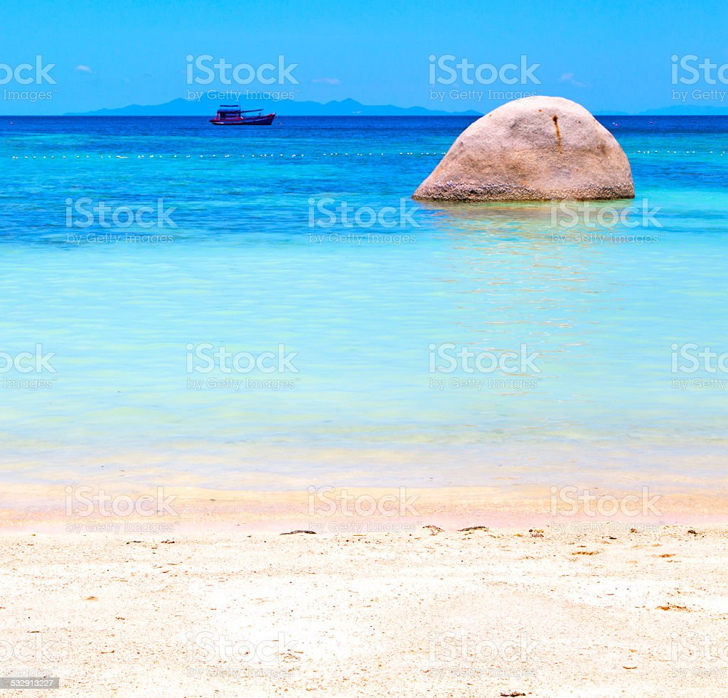 asia  kho tao  bay isle white  beach    rocks pirogue stock photo