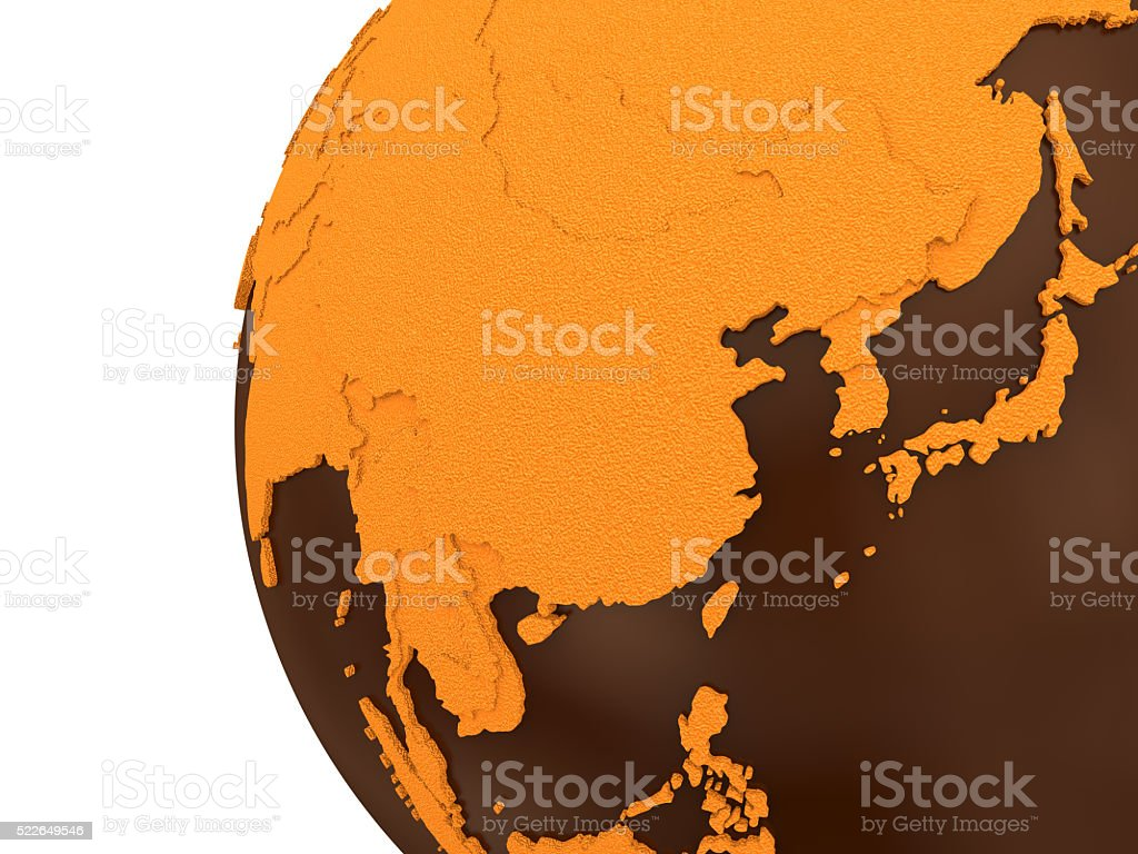 Asia on chocolate Earth stock photo