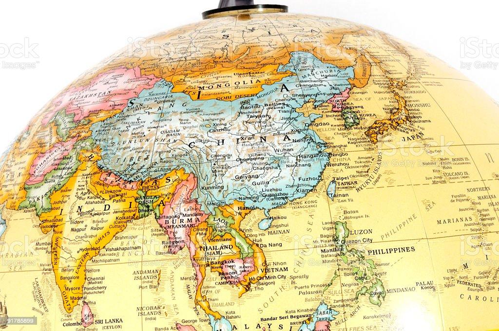 Asia on Globe royalty-free stock photo