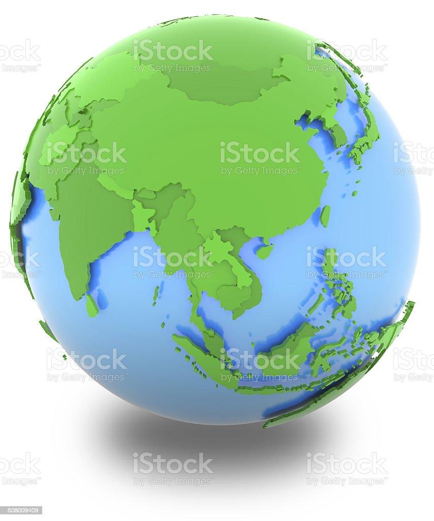 Asia on the globe stock photo