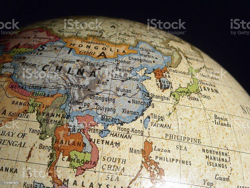 Asia On World Globe royalty-free stock photo