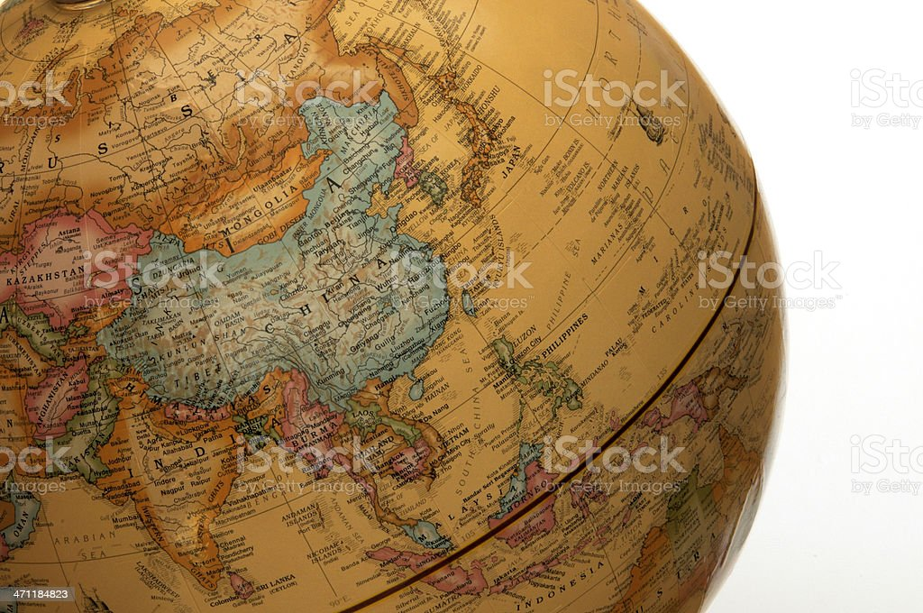 Asia Pacific on Globe royalty-free stock photo