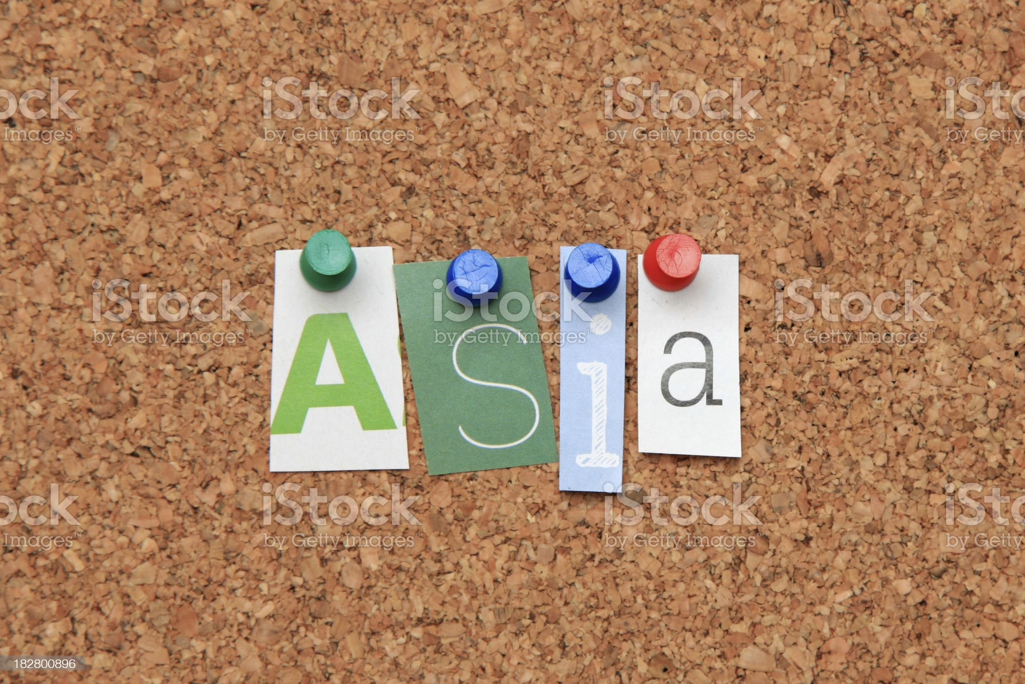 Asia pinned on noticeboard royalty-free stock photo