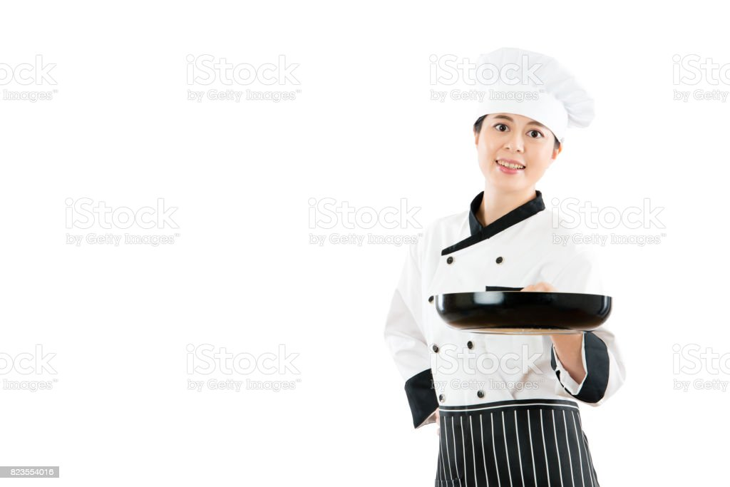 asia popular hotel restaurant chef showing the pan stock photo