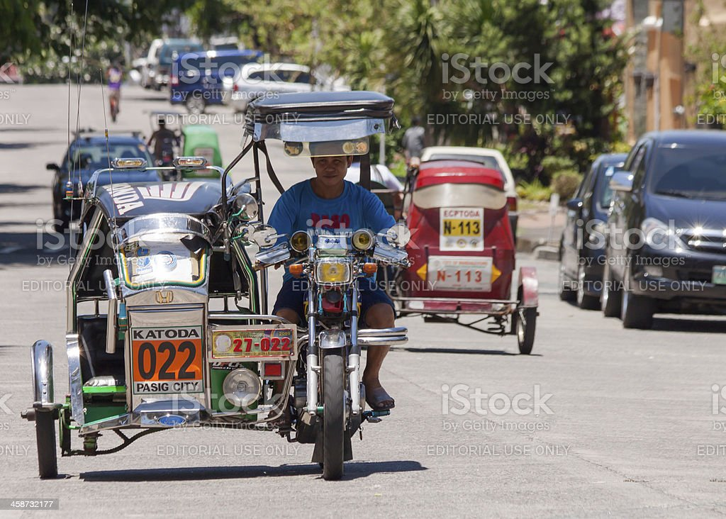 Asia tricycle cab driver royalty-free stock photo