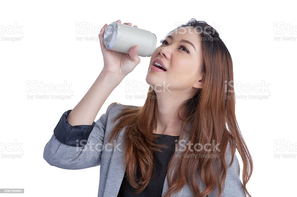 Asia woman drinking from blank can. stock photo