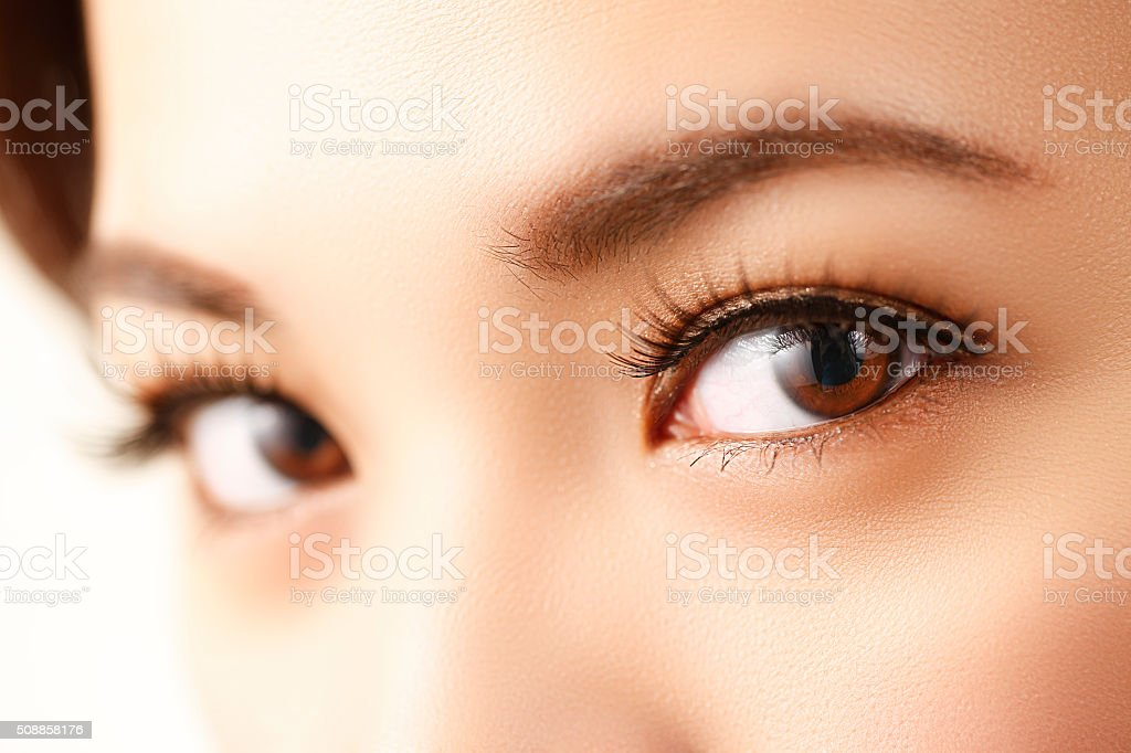 Asia woman eye close-up stock photo