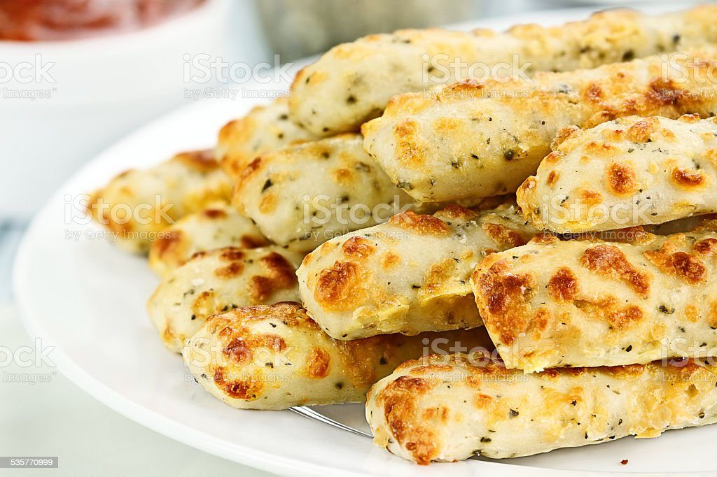 Asiago Cheese Breadsticks and Dip stock photo