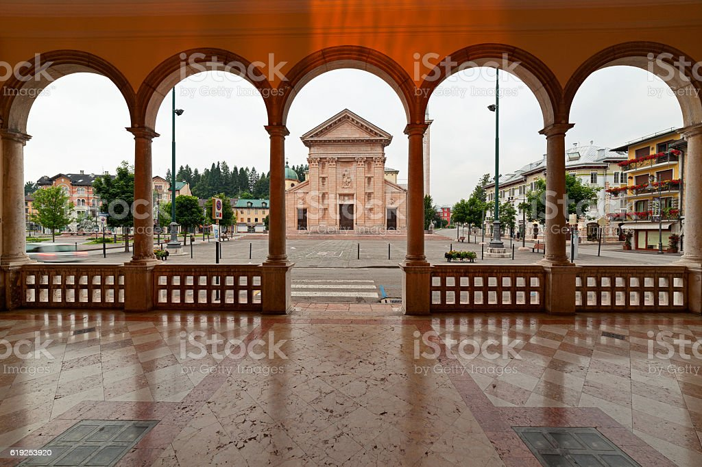 Asiago-Italy church seen from  town hall porch stock photo