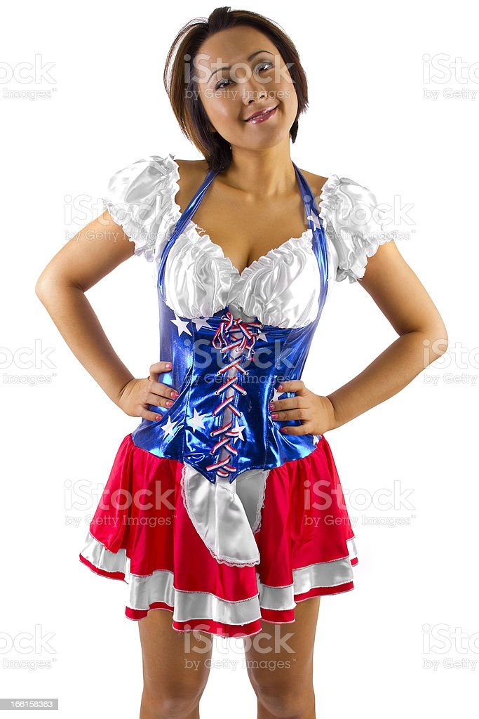 Asian American Girl Wearing a Patriotic Costume royalty-free stock photo