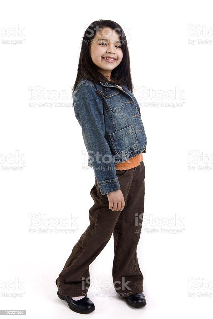 Asian and Hispanic Mixed Elementary Age Girl on White, Copyspace stock photo