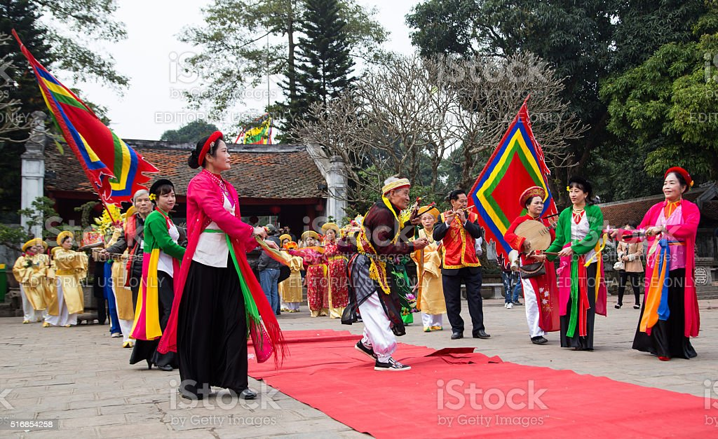Asian artists performing a public spiritual dance stock photo