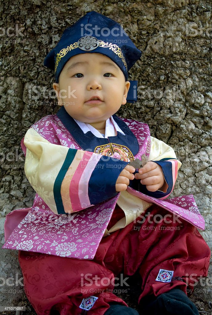 Asian Baby Boy, Child in Traditional Korean Clothing Ethnic Costume royalty-free stock photo